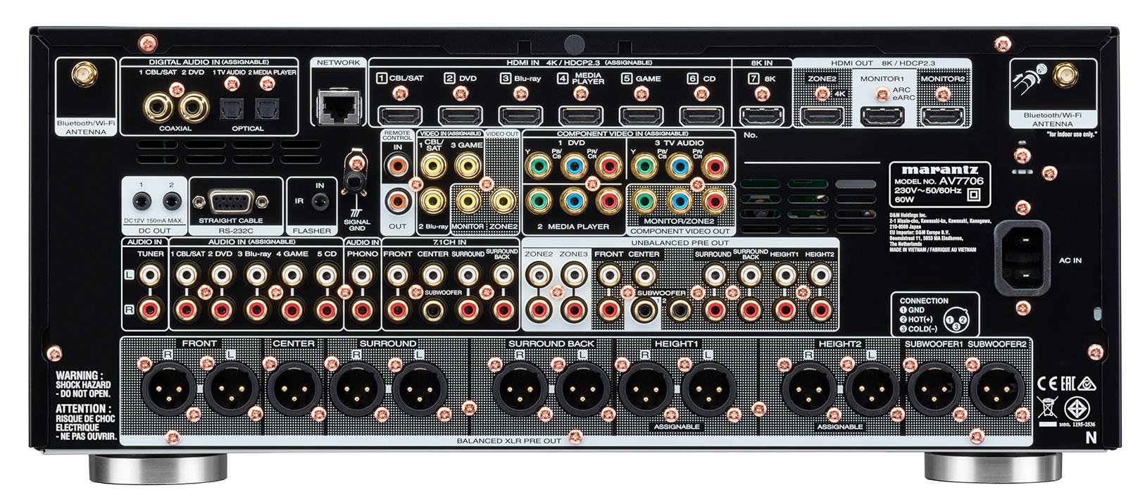 Marantz AV7706 11.2Ch 8K Ultra HD Atmos Network AV Preamplifier 1870_Mz_AV7706_Rear-Image-1626w_EU